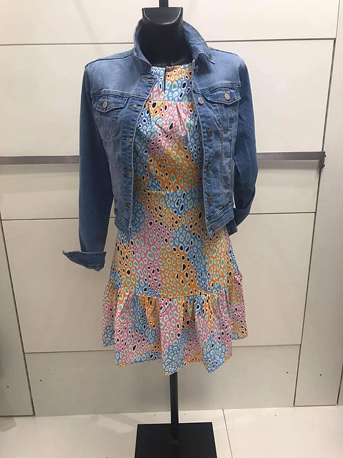 Pink and blue print dress
