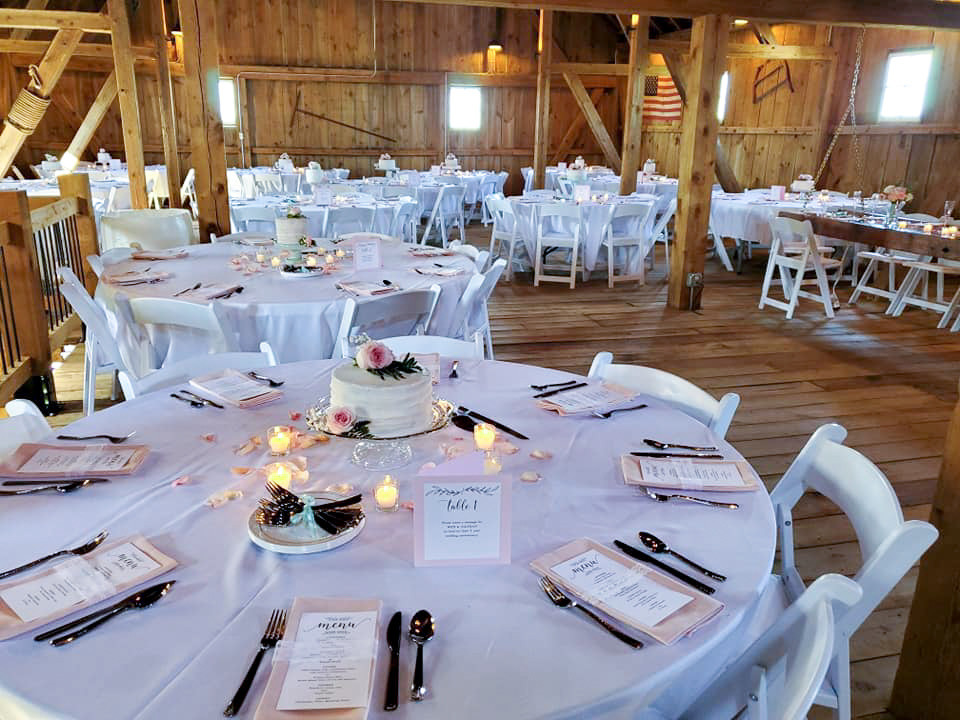 Barn wedding reception setup