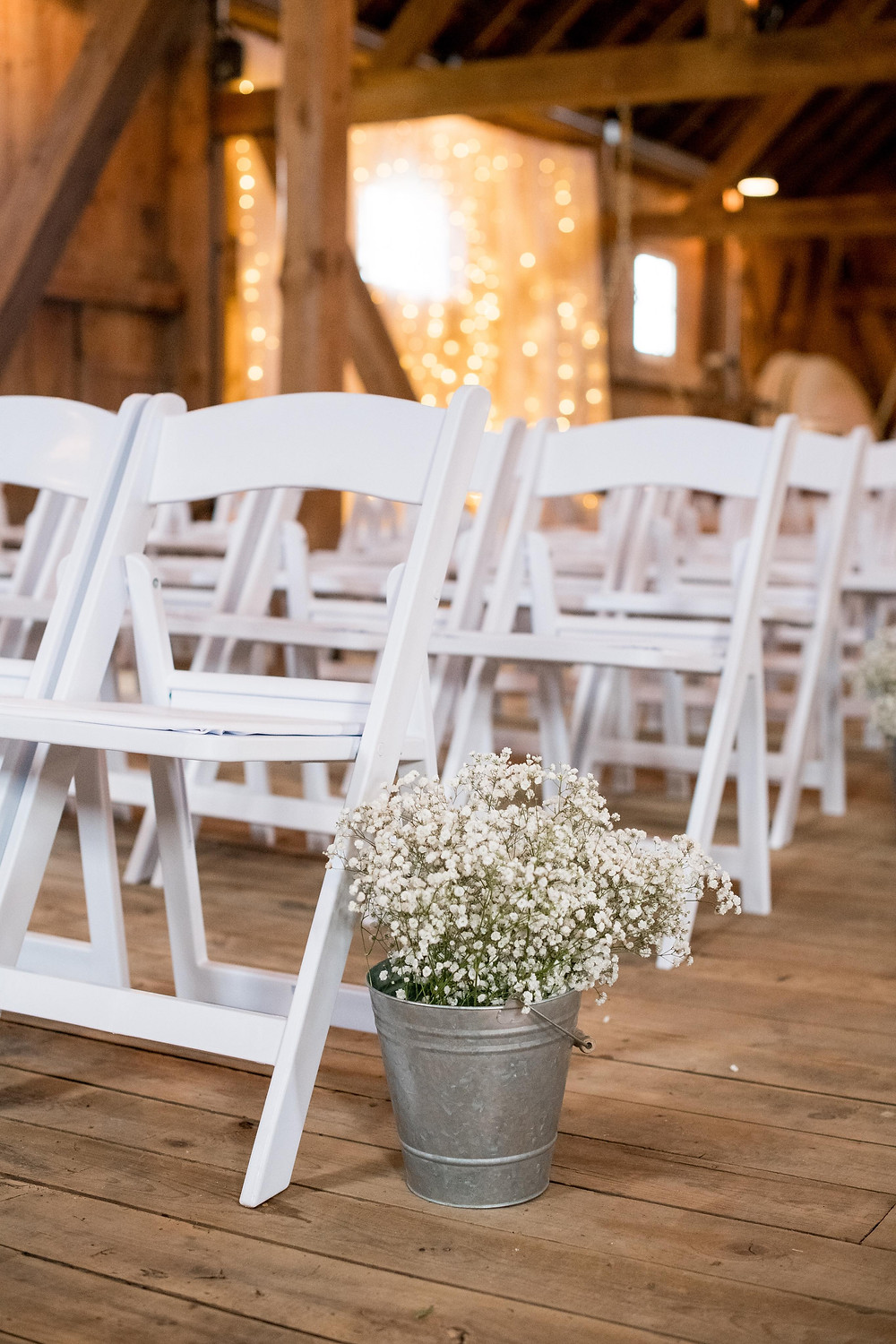 Barn wedding ceremony setup