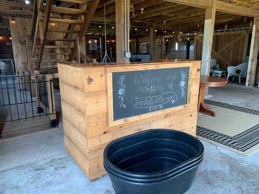 Black bins and serving bar