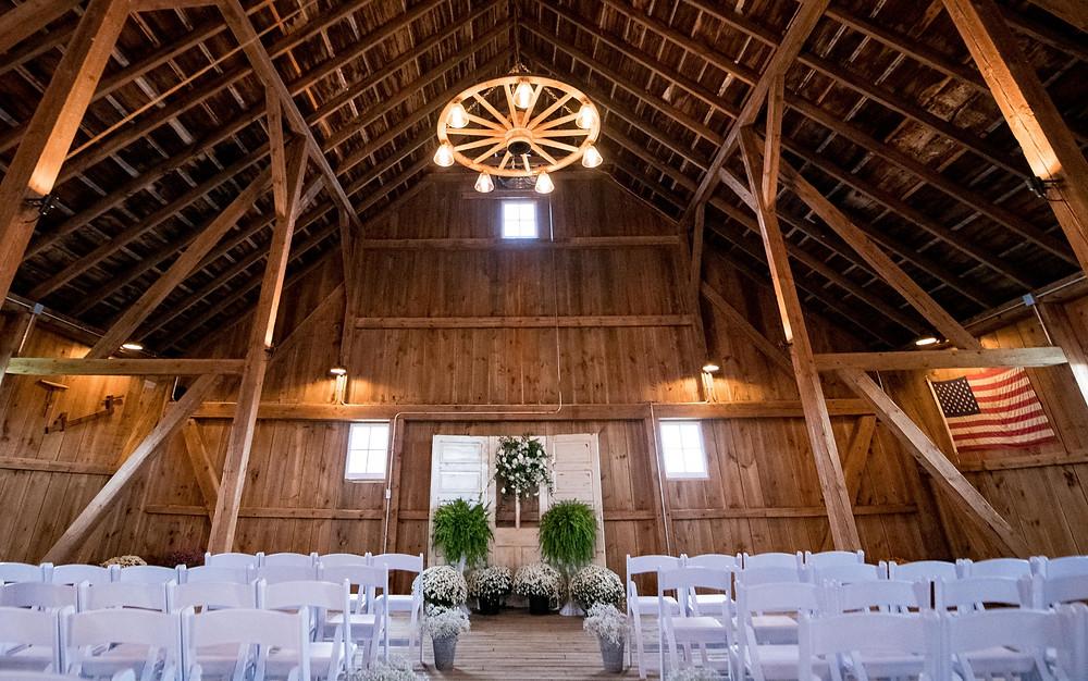 Barn wedding ceremony setup at The Barn at Double K Ranch