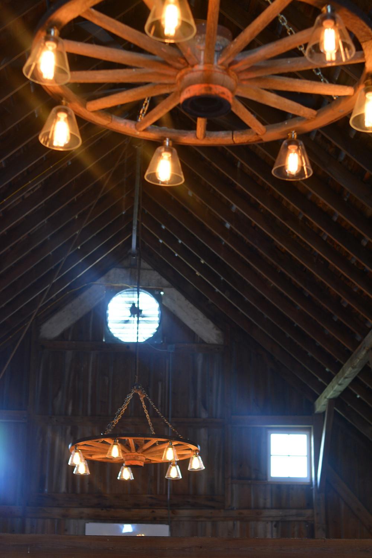 The Barn at Double K Ranch 40 foot beams and vintage lighting