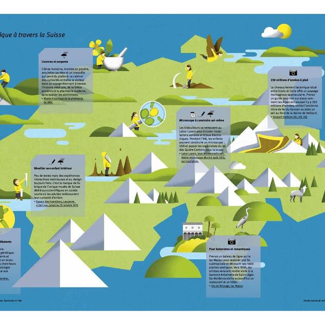 Un voyage scientifique à travers la Suisse (Horizons, 2015)   Designer: Aurel Märki