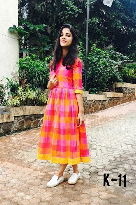 Stunning Khadi Cotton Checks Ankle Length Readymade Kurtis
