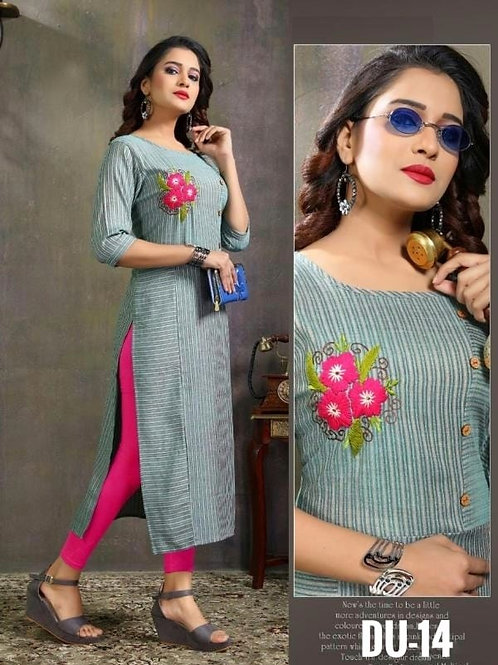 Glamorous Cotton Embroidered Calf Length Kurtis