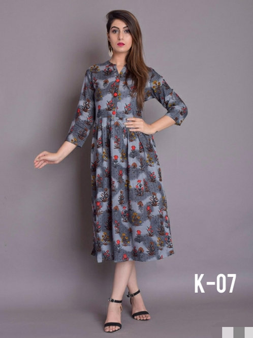 Authentic Rayon Printed Calf Length Kurtis