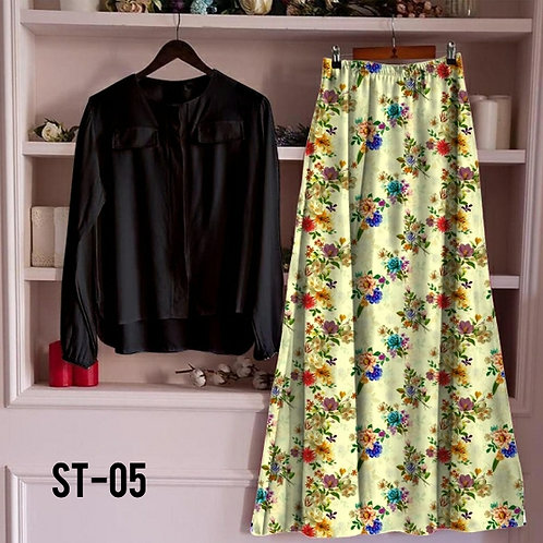 Women's Rayon Black Top with Skirt Sets Vol-2