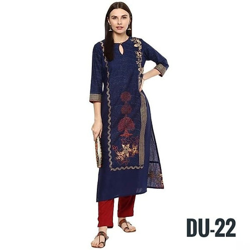Beautiful Cotton Foil Print 3/4th Sleeves Knee Length Straight Kurtis