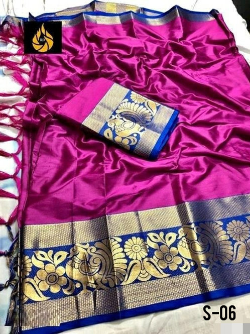 Attractive Cotton Silk Solid With Jacquard Border Sarees