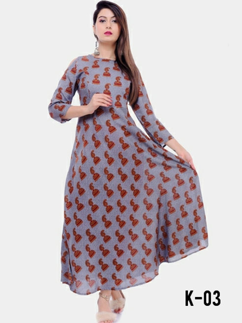 Authentic Rayon Printed Calf Length Kur