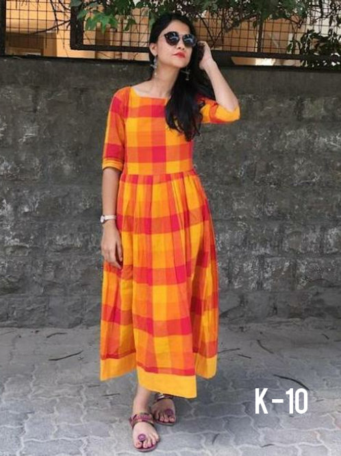 Stunning Khadi Cotton Checks Ankle Length Readymade Kurtis