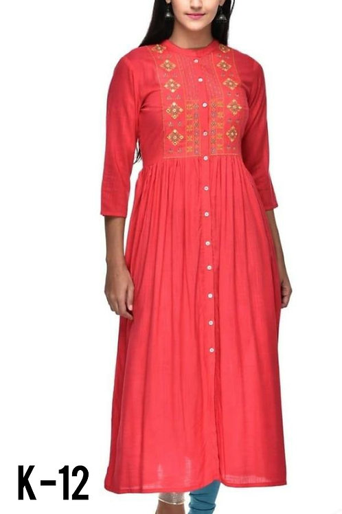 Special Rayon Embroidered Aline Kurtis