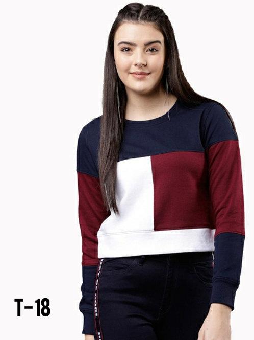 Women's Fleece Long Sleeve Women Color Block Sweatshirt