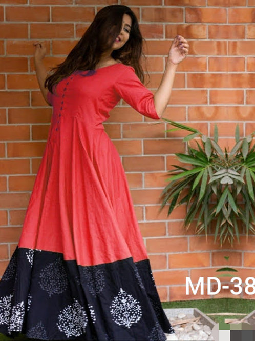 Stylish Cotton & Rayon Printed with Button Floor Length Kurtis