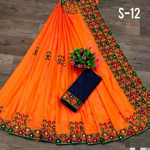 Fabulous Sana Silk Embroidery With Mirror Sarees