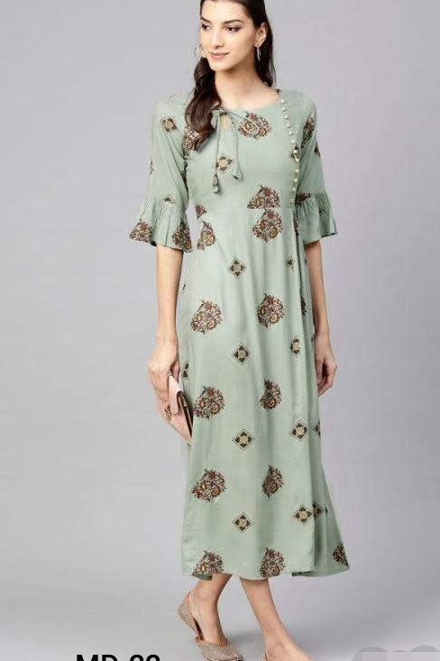 Gorgeous Rayon Solid With Embroidered Aline Calf Length Kurtis
