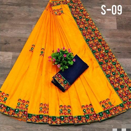 Fabulous Sana Silk Embroidery With Mirror Sarees