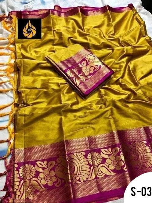 Attractive Cotton Silk Solid With Jacquard Border Sarees