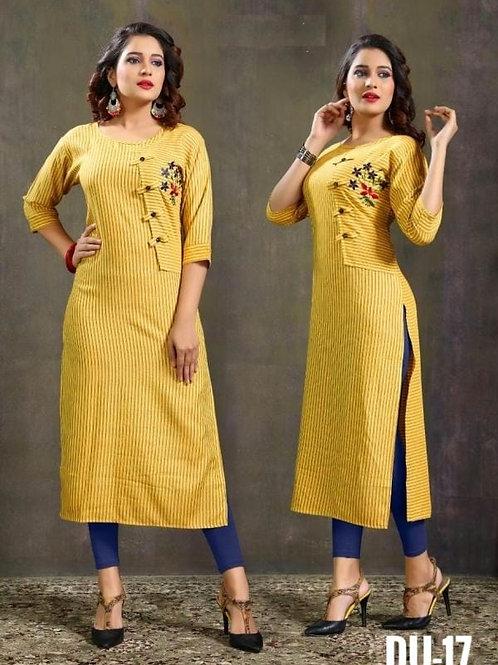 Glamorous Cotton Embroidered Calf Length Kurtis