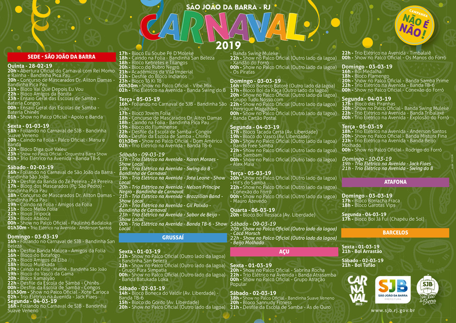 Programação do Carnaval 2019 em São João da Barra