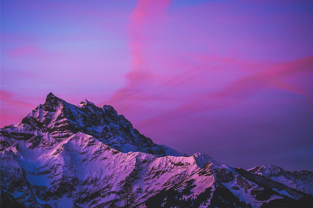 Dents du Midi against pink sky in Villars sur Ollon, Switzerland