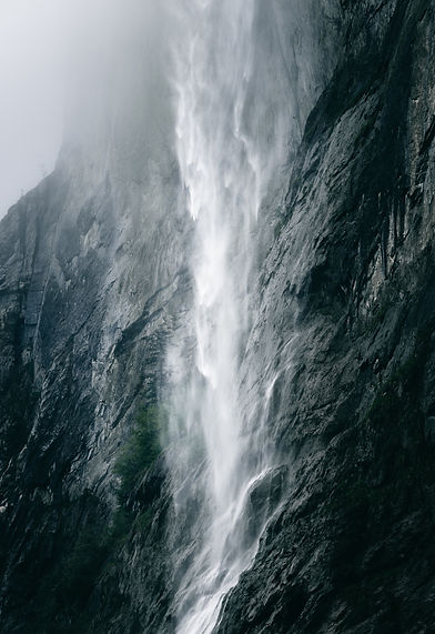 Cascading waterfall in Lauterbrunnen