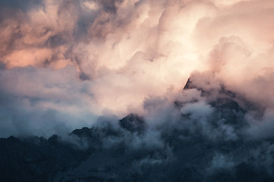 Clouds above massif du mont Blanc in French Alps
