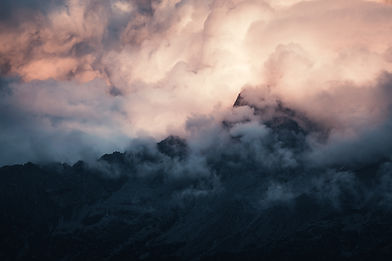 Pink clouds over Massif du Mont Blanc