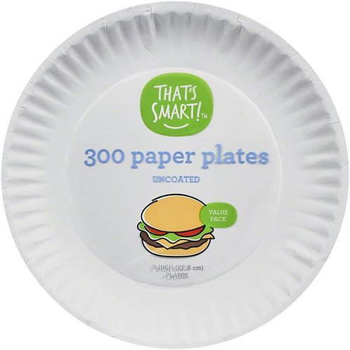 "That's Smart 9"" Paper Plates, Uncoated"