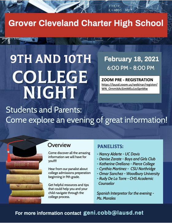 College Night for 9th & 10th Graders