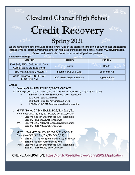Credit Recovery for Spring 2021