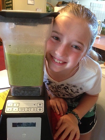 Girl with green smoothie