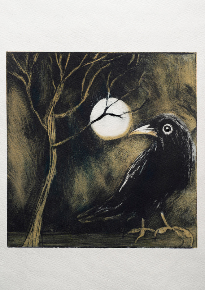 Crow in the moonlight.