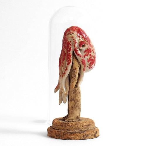 Cloche Miniature - Idole Poulpe bi-color rouge et beige