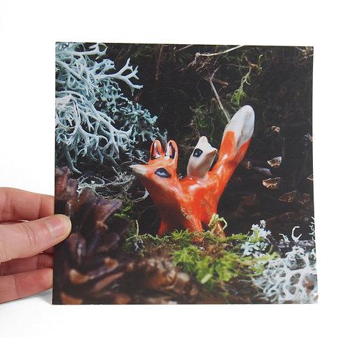 Carte Postale - Renard et Oiseau
