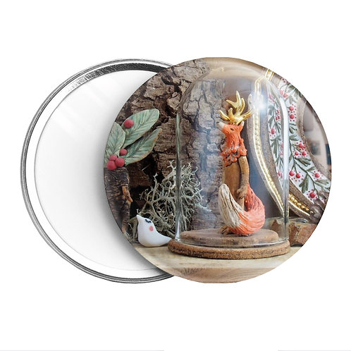 Miroir de Poche - Renard à Cornes dorées