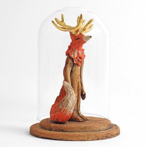 Gardien sous cloche - Renard roux à cornes