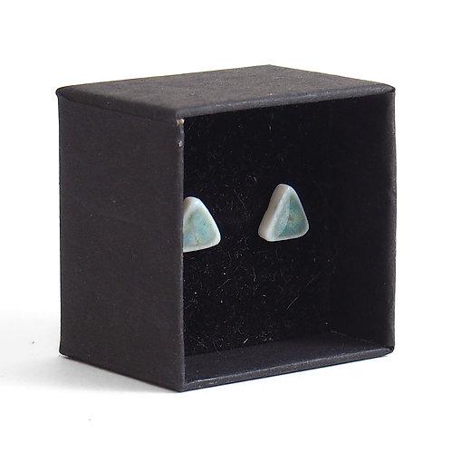 Puces d'oreilles - Triangle - Vert Bleu Gris