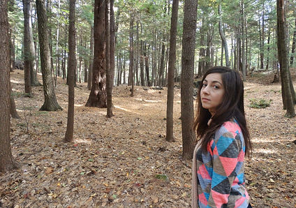 Marisa in the woods at Shantigar, photo