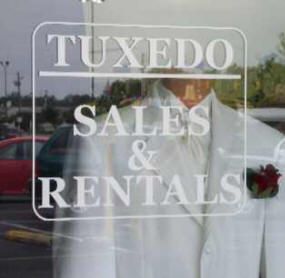 Richards front window tux sign