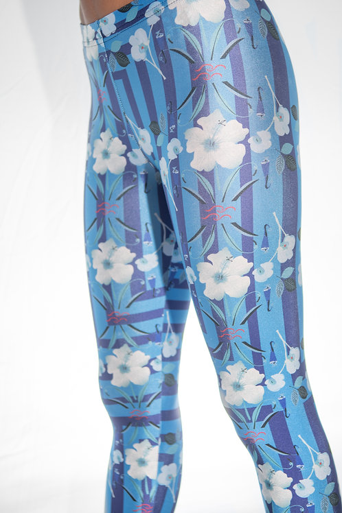Blue Flower Stripped Legging