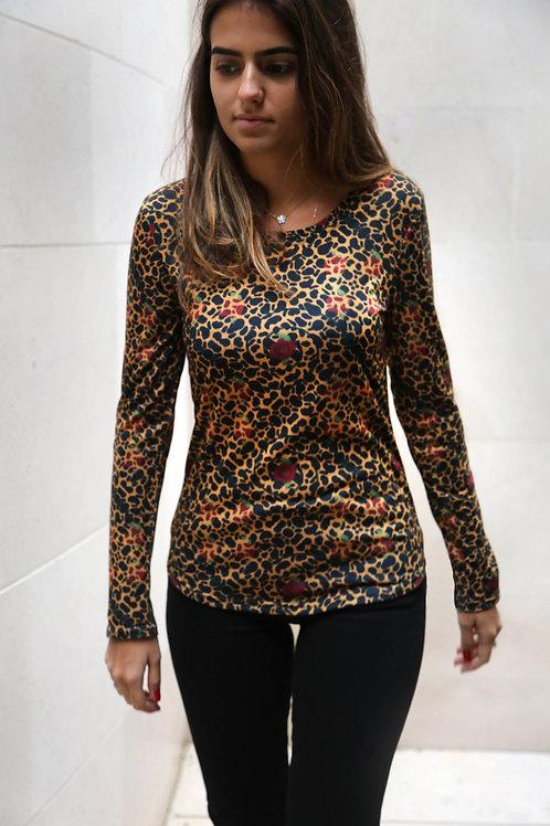 Cheetah and Roses Long Sleeve Shirt