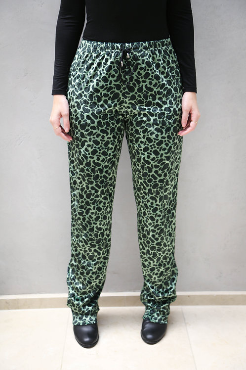 Oversized Crushed Velour Green Leopard Pants