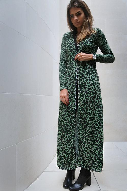 Green Leopard Long Soft Cardigan