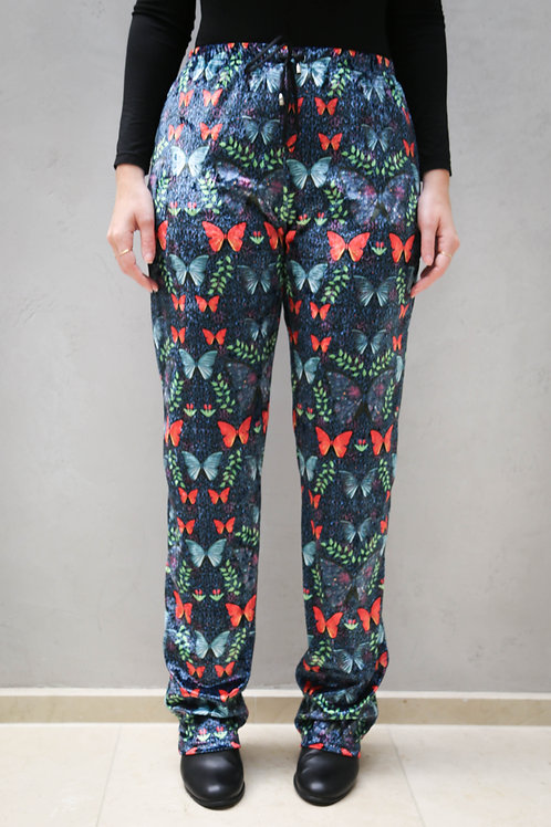 Oversized Crushed Velour Grand Butterfly Pants