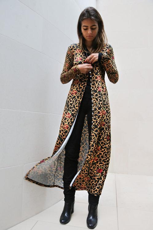 Cheetah and Roses Long Soft Cardigan