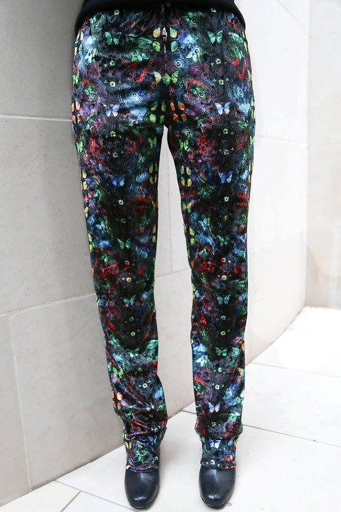 Oversized Crushed Velour Mixed Butterfly Pants