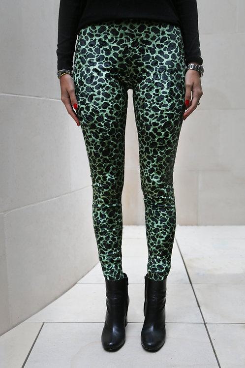 Green Leopard High Rise Leggings