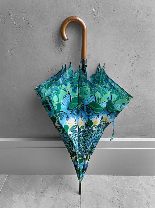 Blue and Green Butterfly City Umbrella