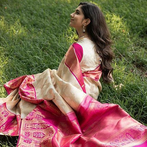 Gorgeous Rajputana semi banarasi silk saree